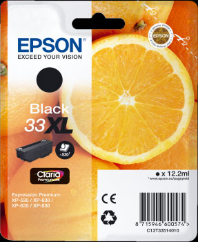 Epson 33XL Black Ink Cartridge - Orange Claria Premium Ink T3351, 12.2ml