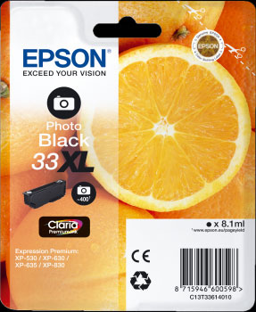 Epson 33XL Photo Black Ink Cartridge - Orange Claria Premium Ink T3361, 8.1ml