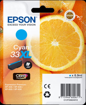Epson 33XL Cyan Ink Cartridge - Orange Claria Premium Ink T3362, 8.9ml