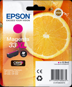 Epson 33XL Magenta Ink Cartridge - Orange Claria Premium Ink T3363, 8.9ml