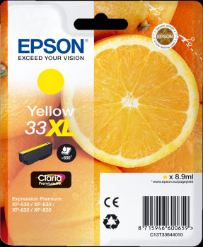 Epson 33XL Yellow Ink Cartridge - Orange Claria Premium Ink T3364, 8.9ml