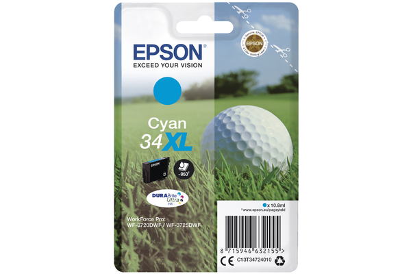 Cyan Epson 34XL Ink Cartridge (T3472 Printer Cartridge)