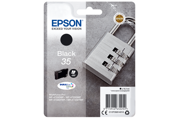 Epson 35 Black Ink Cartridge - T3581 Padlock Inkjet Printer Cartridge