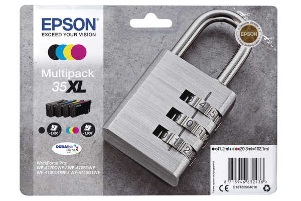 Epson 35XL High Capacity Multipack Ink Cartridges - T3596 Padlock Inkjet Printer Cartridges