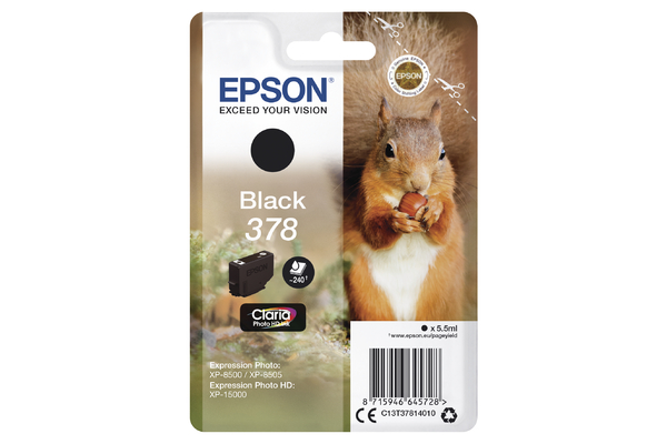 Epson 378 Black Ink Cartridge - T3781 Squirrel Inkjet Printer Cartridge