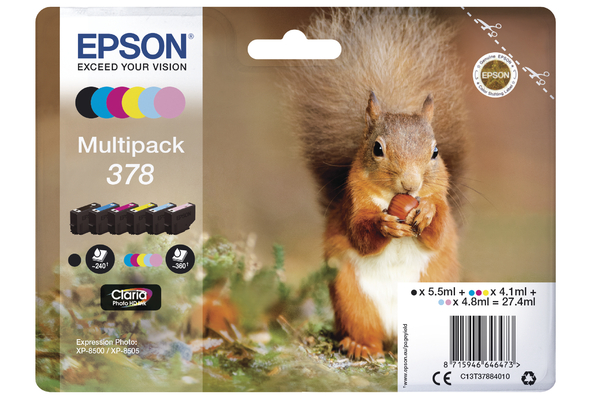 Epson 378 Multipack Ink Cartridges - T3788 Squirrel Inkjet Printer Cartridges