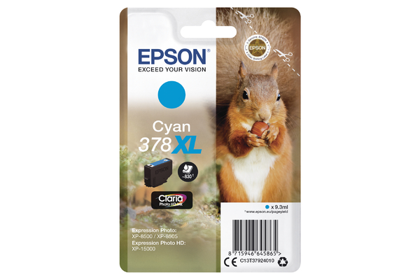 Epson 378XL High Capacity Cyan Ink Cartridge - T3792 Squirrel Inkjet Printer Cartridge