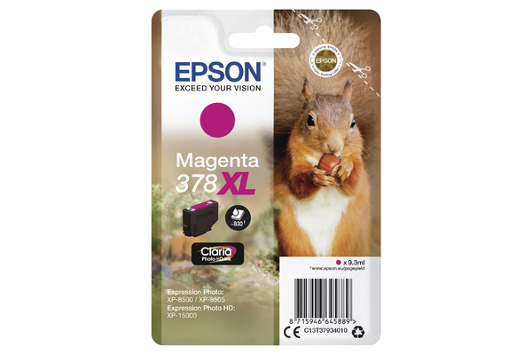 Epson 378XL High Capacity Magneta Ink Cartridge - T3793 Squirrel Inkjet Printer Cartridge