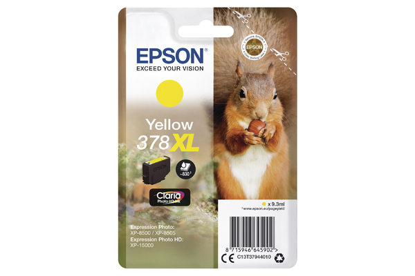 Epson 378XL High Capacity Yellow Ink Cartridge - T3794 Squirrel Inkjet Printer Cartridge
