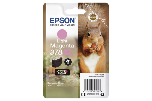 Epson 378XL High Capacity Light Magenta Ink Cartridge - T3796 Squirrel Inkjet Printer Cartridge