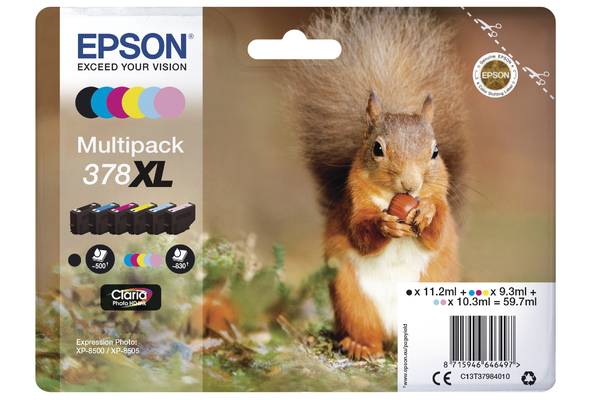 Epson 378XL High Capacity Multipack Ink Cartridges - T3798 Squirrel Inkjet Printer Cartridges