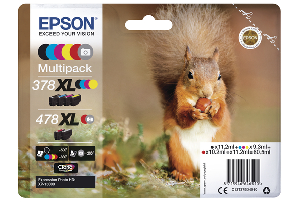 Epson 378XL and 478XL High Capacity Multipack Ink Cartridges - T379D Squirrel Inkjet Printer Cartridges