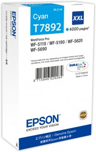 Epson T7892 XXL Extra High Capacity Cyan Ink Cartridge, 34.2ml