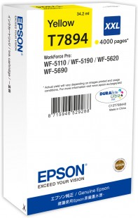 Epson T7894 XXL Extra High Capacity Yellow Ink Cartridge, 34.2ml
