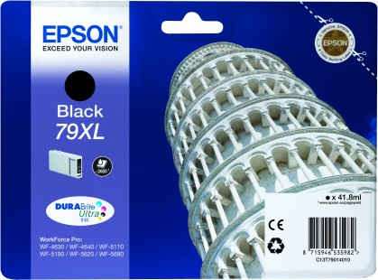 Epson 79XL High Capacity Black Tower of Pisa Ink Cartridge, 41.8ml