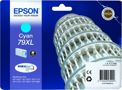 Epson 79XL High Capacity Cyan Tower of Pisa Ink Cartridge, 17.1ml