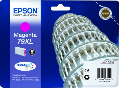 Epson 79XL High Capacity Magenta Tower of Pisa Ink Cartridge, 17.1ml