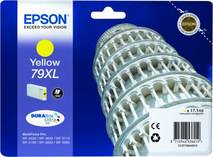 Epson 79XL High Capacity Yellow Tower of Pisa Ink Cartridge, 17.1ml
