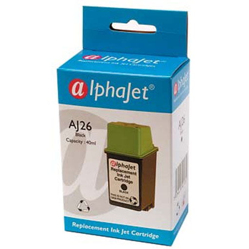 Alphajet Replacement Black Ink Cartridge (Alternative to HP No 26, 51626A)