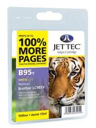 Jettec Yellow Ink Cartridge for LC985Y, 13ml