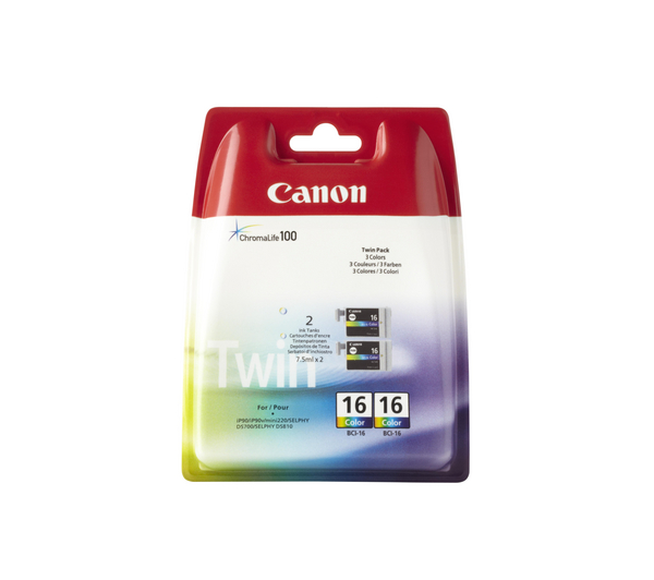 Canon BCI-16 Twin Pack Colour Ink Cartridges (Cyan, Magenta, Yellow)