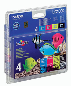 Brother LC-1000 Quad Pack Black, Cyan, Magenta, Yellow Ink Cartridges