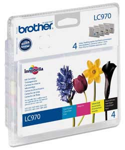 Brother LC-970 Quad Pack Black, Cyan, Magenta, Yellow Ink Cartridges