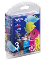 Brother LC-1000 Multi Pack Cyan, Magenta, Yellow Ink Cartridges