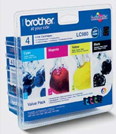 Brother LC-980 Quad Pack Black, Cyan, Magenta, Yellow Ink Cartridges