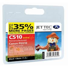 Jettec Replacement Black Ink Cartridge for Canon PG-510, 11.5ml