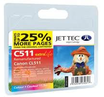 Jettec Replacement Colour Ink Cartridge for Canon CL-511, 11.5ml
