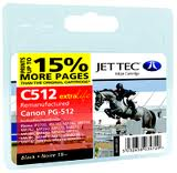 Jettec Replacement Black Ink Cartridge for Canon PG-512, 18ml