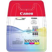 Canon ChromaLife100 CLI 521 Cyan, Magenta, Yellow Ink Cartridges ( 521CMY )
