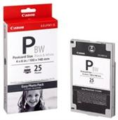 "Canon E-P25 Black and White Ink Cartridge plus 25 Sheets 4"" x 6"" Post Card Size Photo Paper"