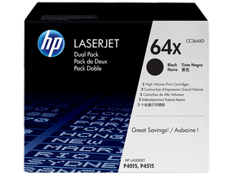 HP 64X Twin Pack High Capacity Black Toner Cartridges - CC364XD