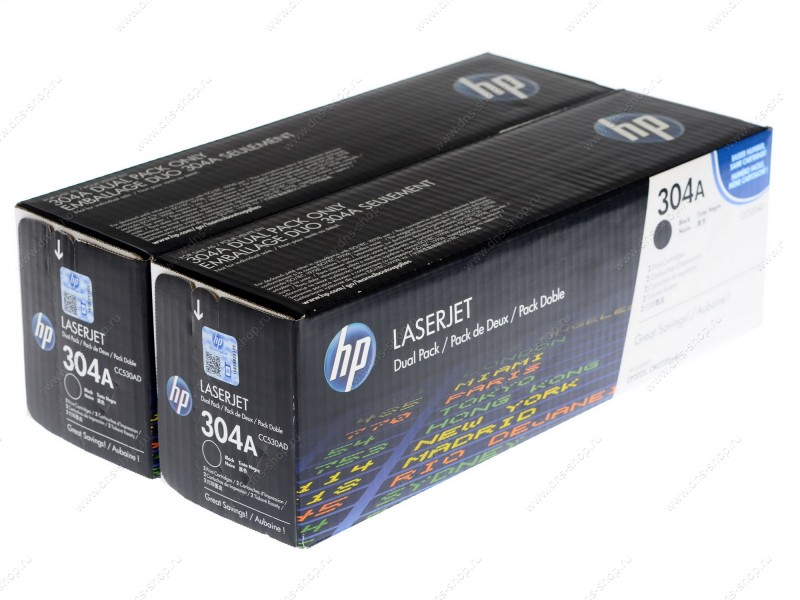 HP 304A Twin Pack Black Laser Toner Cartridges - CC 530AD