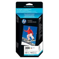 HP 300 Standard Capacity Vivera Colour Ink Cartridge plus 50 sheets 4x6 Glossy Photo Paper