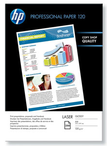 HP Professional Glossy Photo Paper, A4, 120gms, 250 Sheets, Suitable for Laser Printers