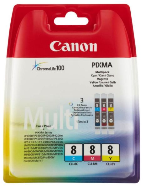 Canon Mutlipack CLI-8 C/M/Y Ink Cartridges