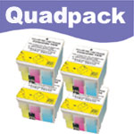 Compatible Quad Pack Colour Ink Cartridges for T039040