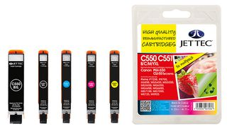 Jet Tec PGI-550XL Black Ink Cartridge plus CLI-551XL Black, Cyan, Magenta, Yellow Ink Cartridges