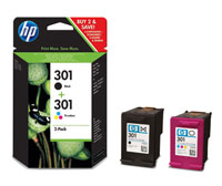 HP 301 Combo Pack Standard Capacity Black and Tri-Colour Cartridges
