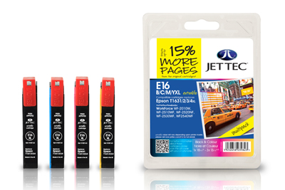 Jettec 16XL Quad Pack High Capacity BK C M Y Ink Cartridges for Epson T1636 - 57ml