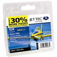 Jet Tec ( Made in the UK) Black Ink Cartridge for T026401, 20ml