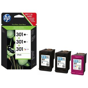 HP 301 Triple Pack Standard Capacity Twin Blacks and Tri-Colour Cartridges
