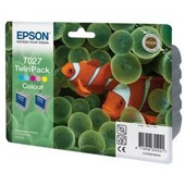Epson T027 Twin Pack Colour Ink Cartridges