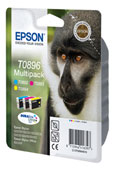Epson T0896 DuraBrite Ultra Multi Pack Cyan, Magenta, Yellow Ink Cartridges ( Monkey )