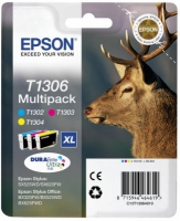 Epson T1306 DuraBrite Ultra Stag High Capacity Multi Pack C/M/Y Ink Cartridges