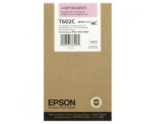 Epson T602C Light Magenta UltraChrome K3 Ink Cartridge C13T602C00, 110ml