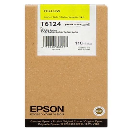 Epson T6124 UltraChrome K3 Yellow Ink Cartridge C13T612400, 220ml